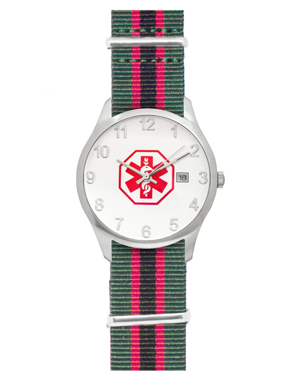 Men's Nato Medical ID Watch - Green Black Red Stripe