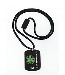 4id Sports Medical Identification Dog Tag Necklace - GREEN