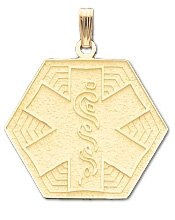 Hexagon Medical ID Pendant in 10K, 14K Gold or Silver - 27mm
