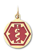 Round Hex Medical ID Pendant in 10K, 14K Gold or Silver - 13mm