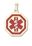 Octagon Medical ID Pendant in 10K, 14K Gold or Silver - 21mm