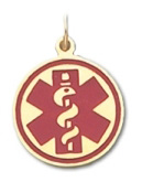 Round Medical ID Pendant in 10K, 14K Gold or Silver - 20mm