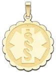 Scalloped Medical ID Pendant in 10K, 14K Gold or Silver - 25mm