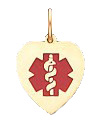 Heart Medical ID Pendant in 10K, 14K Gold or Silver - 12 x 15mm