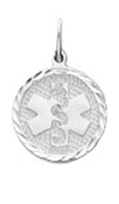 Diamond Cut Medical ID Pendant in Sterling Silver - 12mm