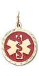Diamond Cut Medical ID Pendant in 14K Yellow Gold - 12mm