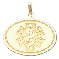 Oval Medical ID Pendant in 10K, 14K Gold or Silver - 25 x 30mm