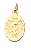 Oval Medical ID Pendant in 10K, 14K Gold or Silver - 10 x 20mm