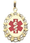 Oval Medical ID Pendant in 10K, 14K Gold or Silver - 22 x 30mm
