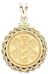 Rope Edge Medical ID Pendant in 10K, 14K Gold or Silver - 22mm