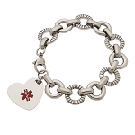 Lifesaver Link Stainless Steel Heart Charm Medical ID Bracelet