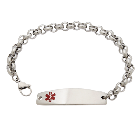 Rolo Chain Stainless Steel Medical Id Bracelet Tap To Expand