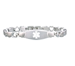 Stealth Heart Link Stainless Steel Medical ID Bracelet - Silver Tone