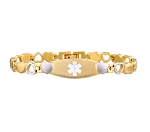 Stealth Heart Link Stainless Steel Medical ID Bracelet - Gold Tone