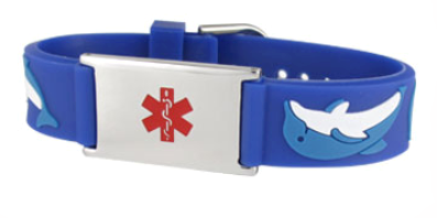 Dolphin Blue Rubber and Stainless Steel Kids Medical ID Bracelet
