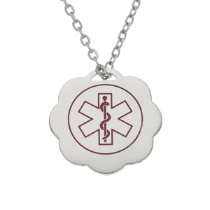 Stainless Steel Medical ID Pendant Necklace - Ruffle Edge