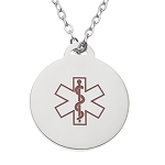 Stainless Steel Medical ID Pendant Necklace - Round