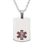 Stainless Steel Medical ID Pendant Necklace - Silver Color Tag