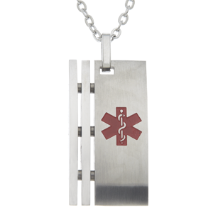 Stainless Steel Medical ID Pendant Necklace - Art Deco