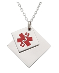 Tiffany Style Stainless Steel Medical ID Pendant Necklace - Double Charm