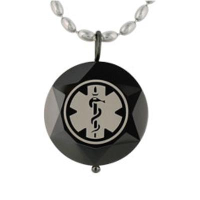 Beveled medical id pendant stainless steel necklace onyx aloadofball Images