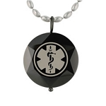 Beveled Medical ID Pendant Stainless Steel Necklace - Onyx