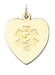 Heart Medical ID Pendant in 10K, 14K Gold or Silver - 19 x 21mm