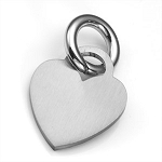 Brushed Heart Pet ID Collar Tag - SMALL