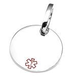Polished Round Pet Medical ID Collar Tag - LARGE