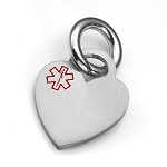 Brushed Heart Pet Medical ID Collar Tag - SMALL