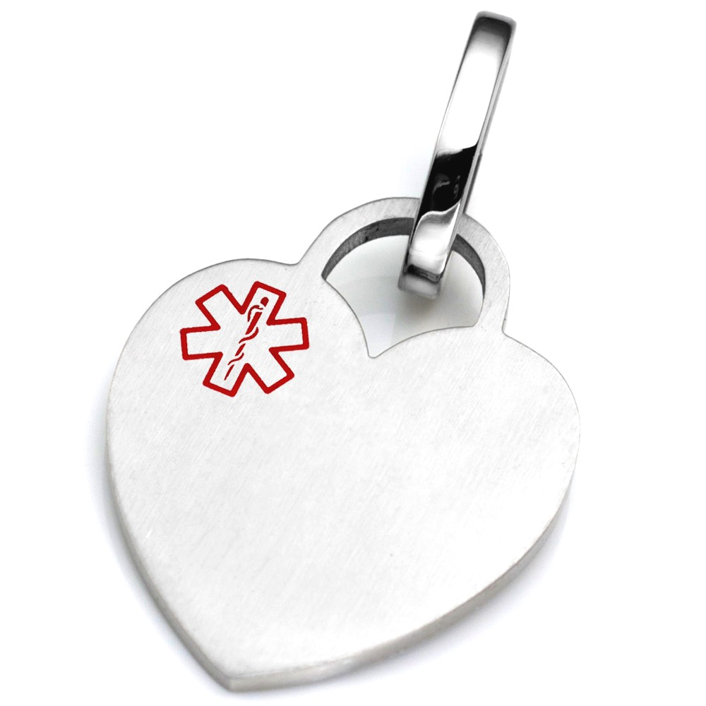 Brushed Heart Pet Medical ID Collar Tag - LARGE