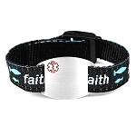 Kids Stainless Steel Medical ID Bracelet with Faith Sport Strap