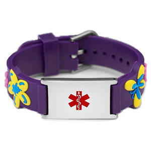 Fl Erfly Purple Rubber And Stainless Steel Kids Medical Id Bracelet