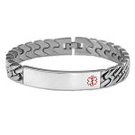 Diagonal Link Stainless Steel Medical ID Bracelet