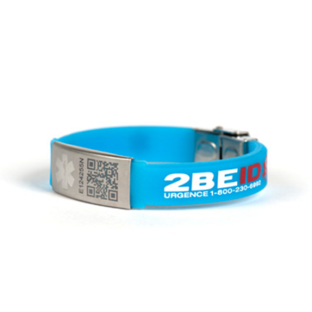 2BEID QR Code Medical ID Bracelet for Kids - Blue