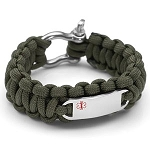 Paracord Survival Medical ID Bracelet with Screw Clasp - GREEN