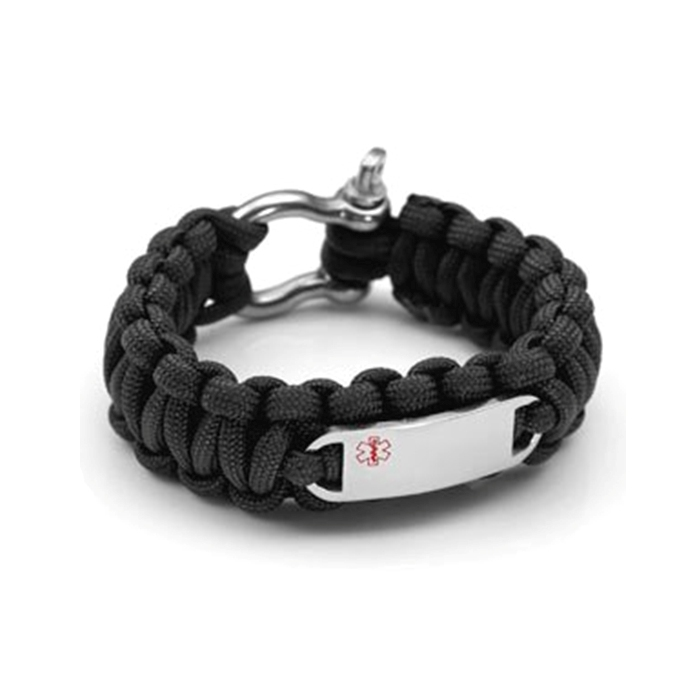 Paracord Survival Medical ID Bracelet with Screw Clasp - BLACK