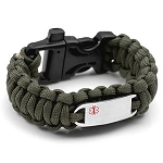 Paracord Survival Medical ID Bracelet with Whistle Clasp - GREEN