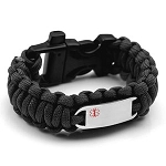Paracord Survival Medical ID Bracelet with Whistle Clasp - BLACK