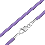 Rubber Cord Necklace with Sterling Silver Clasp - Purple Lavender - 16 inch