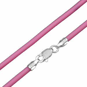 Rubber Cord Necklace with Sterling Silver Clasp - Bubblegum Pink - 16 inch