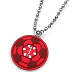 Rubber and Stainless Steel Medical ID Pendant - Red Soccer Ball