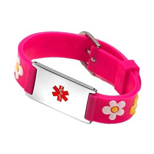 Pink Flower Girls Medical ID Bracelet