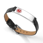 Black Leather and Stainless Thin Adjustable Medical ID Bracelet