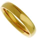 Wedding Band Gold Plated Stainless Steel 4mm Ring