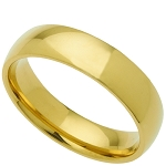 Wedding Band Gold Plated Stainless Steel 6mm Ring