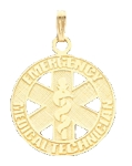 EMT Emergency Medical Technician Pendant in Gold or Silver - 25mm