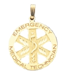 EMT Emergency Medical Technician Pendant in Gold or Silver - 27mm