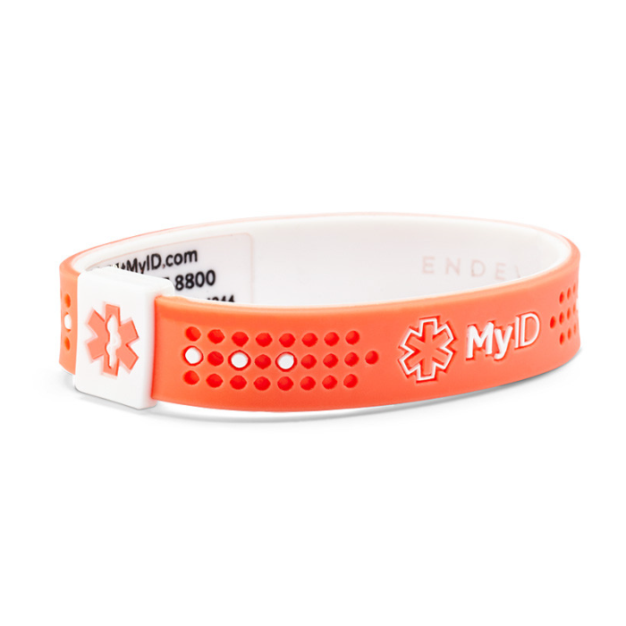 MyID Sport Medical Bracelet - Salmon and White