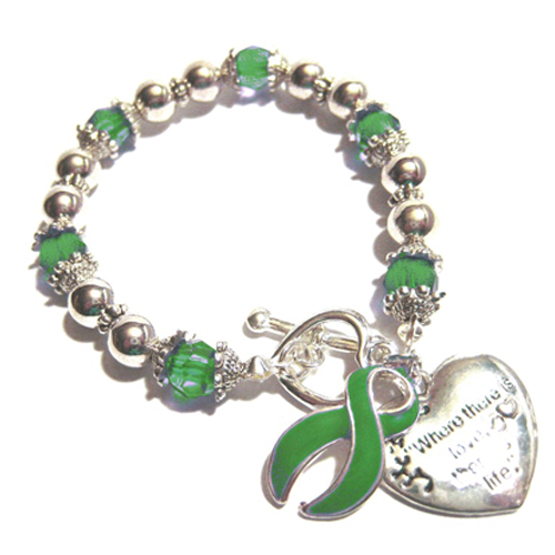 Cerebral Palsy Awareness Silver Ribbon and Heart Charm Bracelet